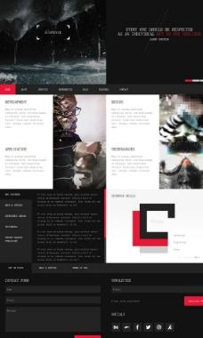 黑色扁平动漫设计网页图片