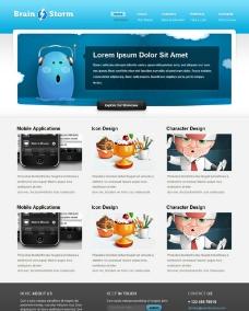 蓝色简洁企业网站模板图片