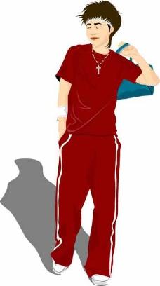 红色运动装男孩矢量图