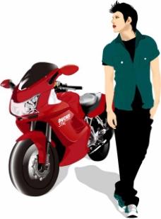 摩托车与男孩