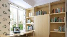 书房靠窗书桌书架模型图