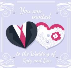 爱心剪纸婚礼邀请卡矢量素材图片
