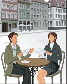 背景建筑休闲品茶男女设计图