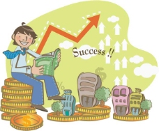 商务背景看书的男孩矢量图