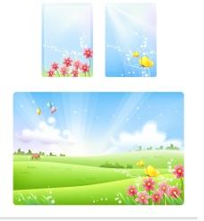 绿色的田野风光矢量素材图片