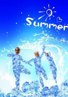 创意夏日清爽冰块人物