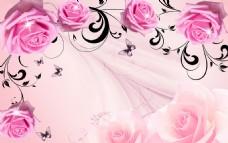 粉玫瑰现代手绘背景墙