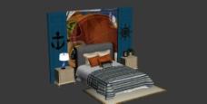 地中海风格床图片