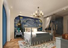 地中海风格主卧室图片