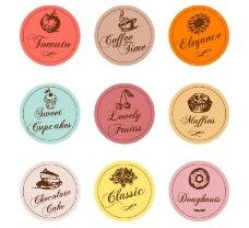 9款圆形手绘食物标签矢量素材
