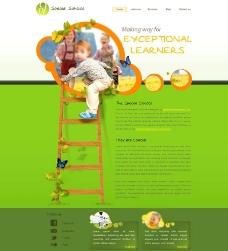 国外绿色幼儿园网站模版图片