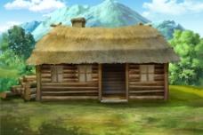 动画木屋场景分层图片