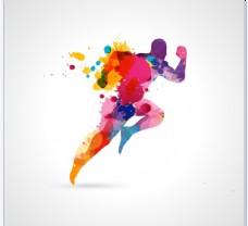 彩色喷绘奔跑男子图片