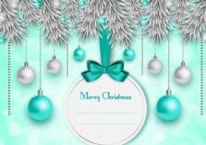 绿色系圣诞吊球松枝卡片矢量素材