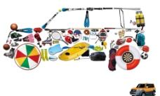 运动素材组成的汽车图案图片
