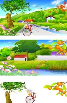 春天美丽风景矢量素材图片